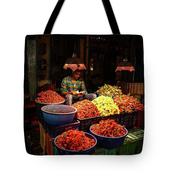 Tote Bag featuring the photograph Cheannai Flower Market Colors by Mike Reid