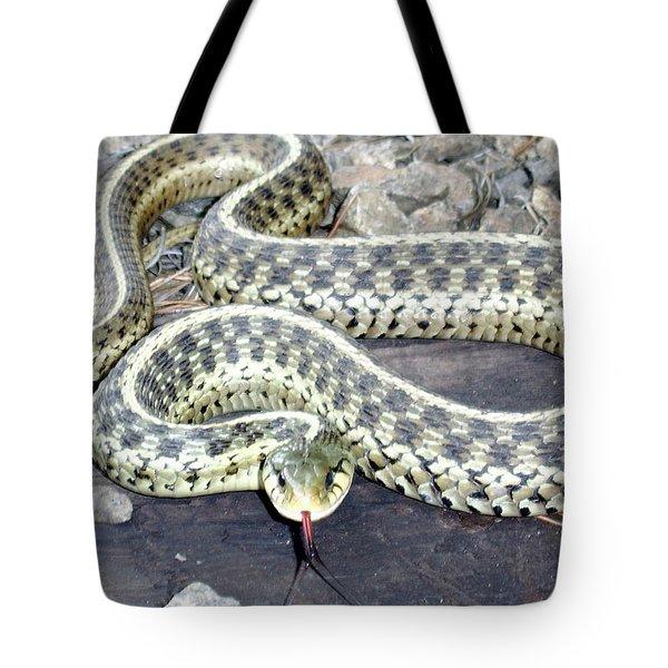 Checkered Garter Snake Tote Bag