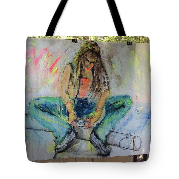 Checking Email Tote Bag by Elizabeth Parashis