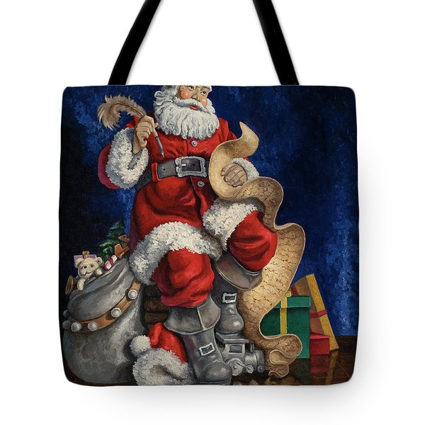 Tote Bag featuring the painting Checking His List by Kyle Wood