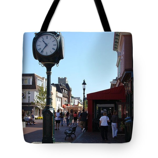 Checking Out The Shops In Cape May Tote Bag by Rod Jellison