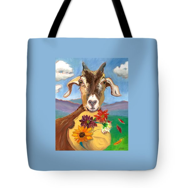 Tote Bag featuring the painting Cheeky Goat by Susan Thomas
