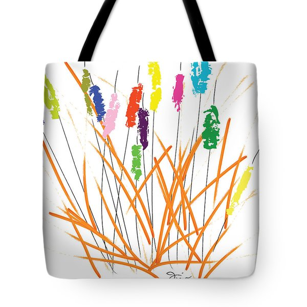 Cheerful Cattails Tote Bag by Oiyee At Oystudio
