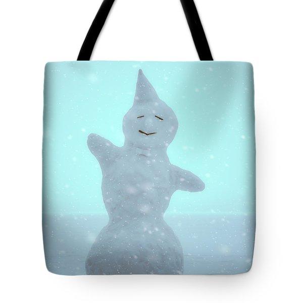 Tote Bag featuring the photograph Cheerful Snowman by Ari Salmela