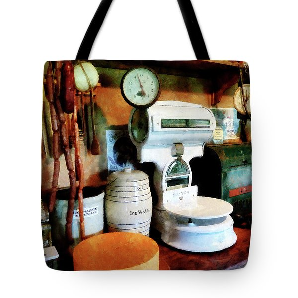 Cheese Sausage And Scale Tote Bag by Susan Savad