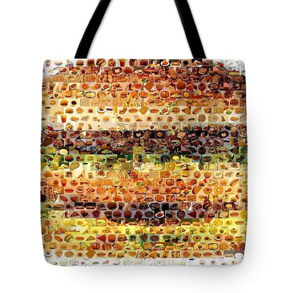 Tote Bag featuring the mixed media Cheeseburger Fast Food Mosaic by Paul Van Scott