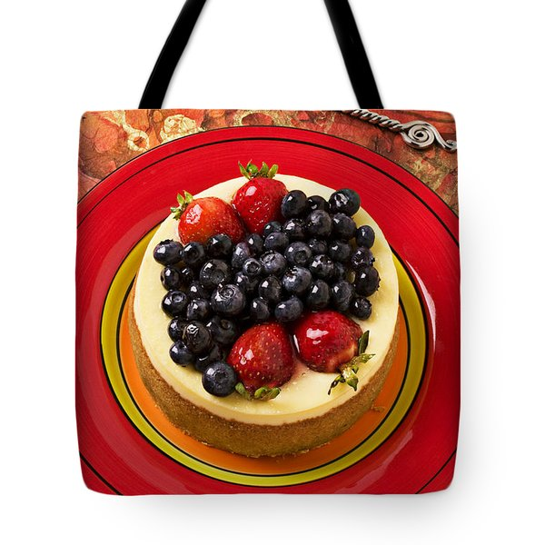 Cheesecake On Red Plate Tote Bag by Garry Gay