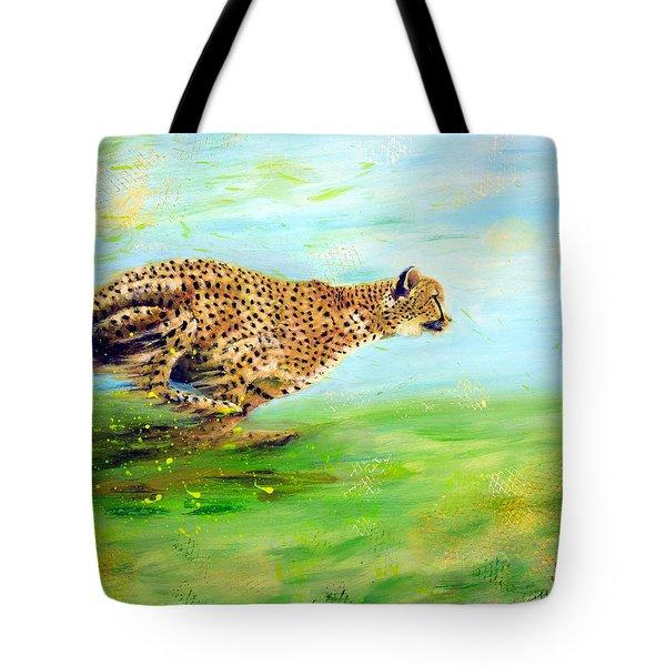 Cheetah At Speed Tote Bag
