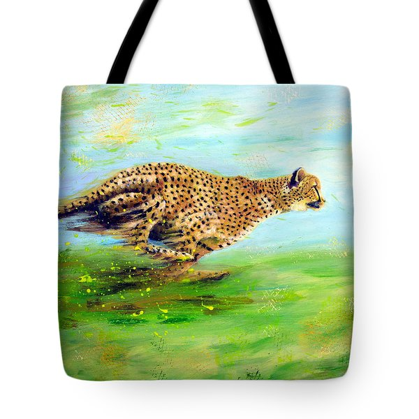 Cheetah At Speed Tote Bag