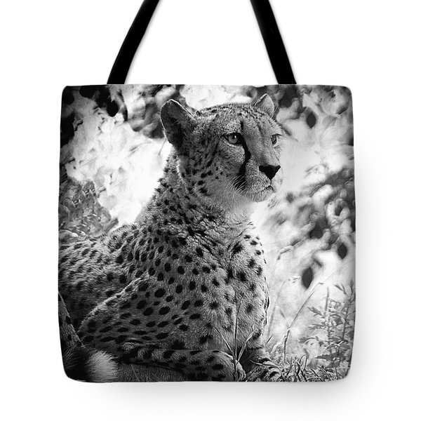 Cheetah B W, Guepard Black And White Tote Bag