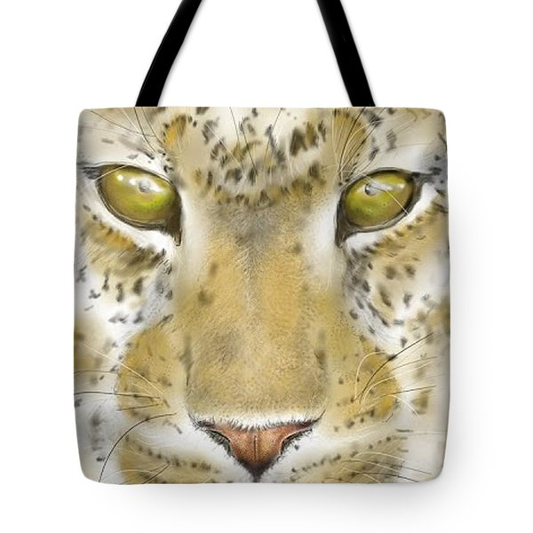 Tote Bag featuring the digital art Cheetah Face by Darren Cannell