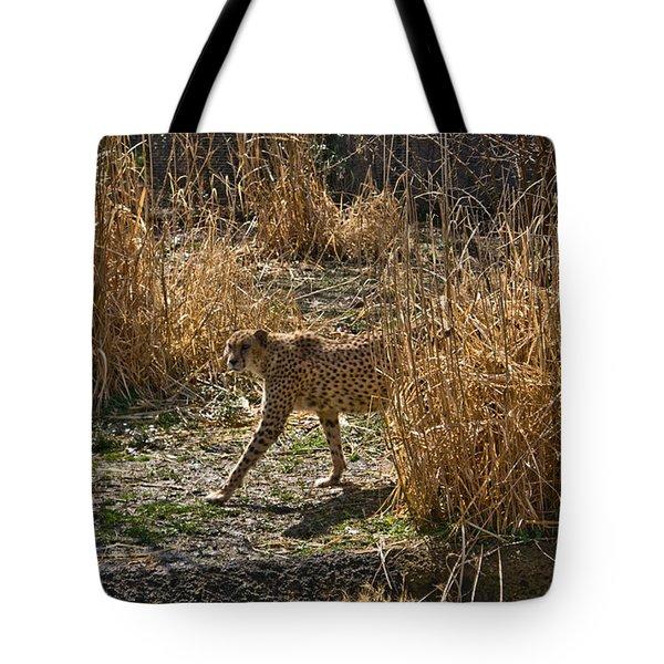 Cheetah  In The Brush Tote Bag by Douglas Barnett
