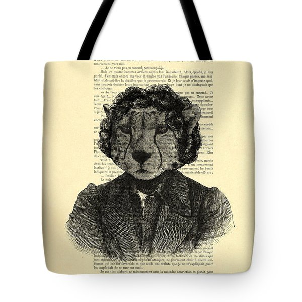 Cheetah On Dictionary Book Page Tote Bag