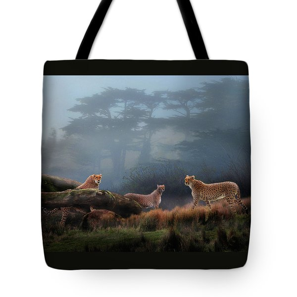 Cheetahs In The Mist Tote Bag
