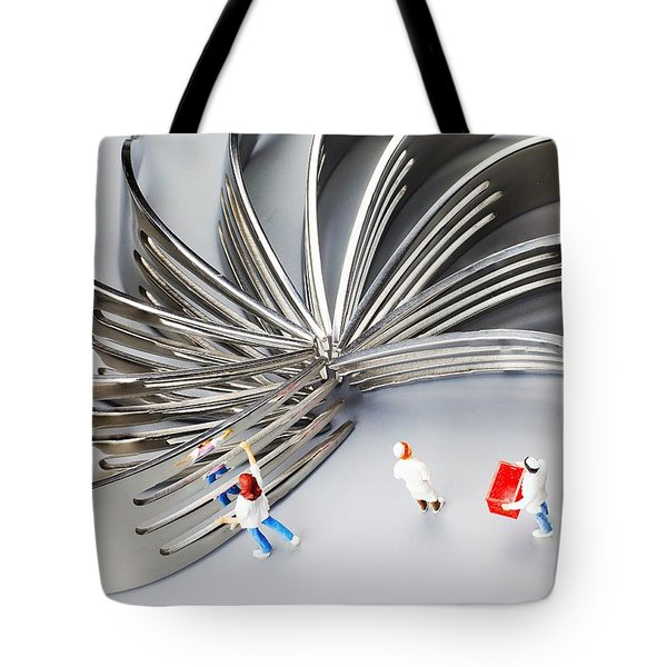 Tote Bag featuring the photograph Chef And Forks Little People On Food  by Paul Ge