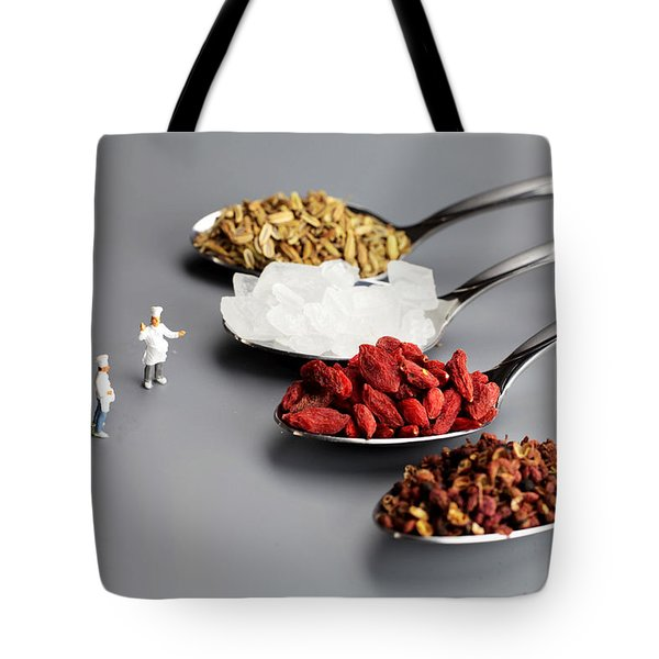 Chef Discussing Cooking Recipes Tote Bag by Paul Ge
