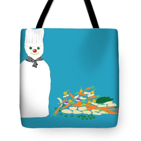 Chef Snowman Tote Bag by Barbara Moignard