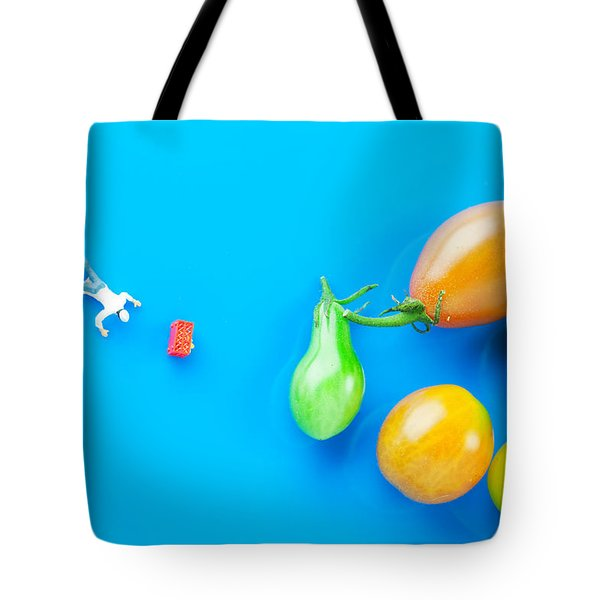 Tote Bag featuring the painting Chef Tumbled In Front Of Colorful Tomatoes II Little People On Food by Paul Ge