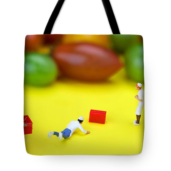 Tote Bag featuring the painting Chef Tumbled In Front Of Colorful Tomatoes Little People On Food by Paul Ge