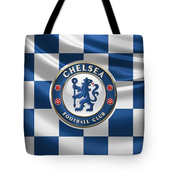 Chelsea F C - 3 D Badge Over Flag Tote Bag