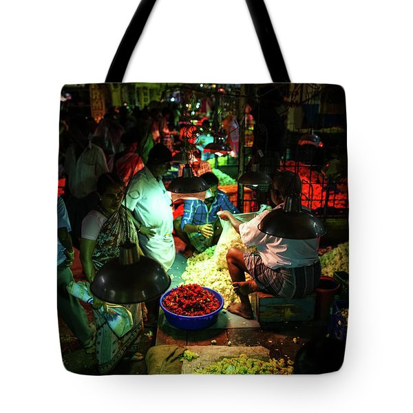Tote Bag featuring the photograph Chennai Flower Market Stalls by Mike Reid