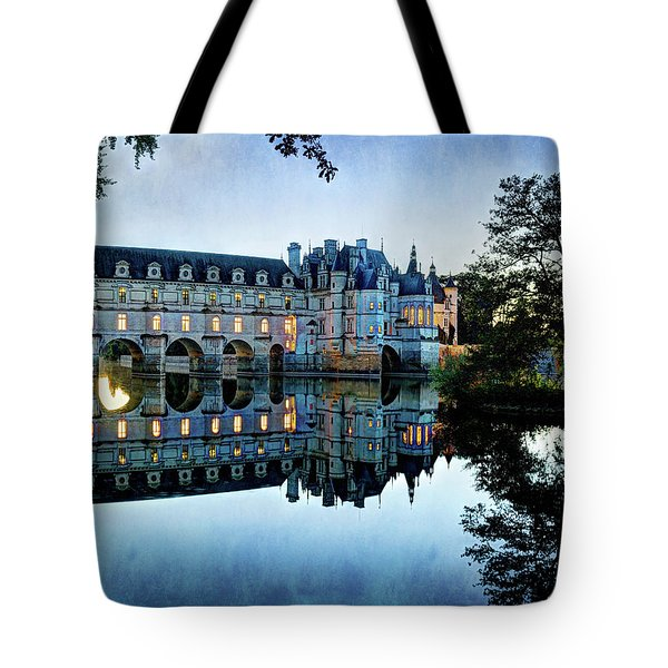 Chenonceau Twilight In Blue - Vintage Version Tote Bag