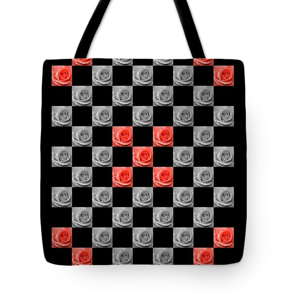 Chequered Rose Tote Bag