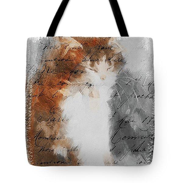 Tote Bag featuring the painting Cher Chat ... by Chris Armytage
