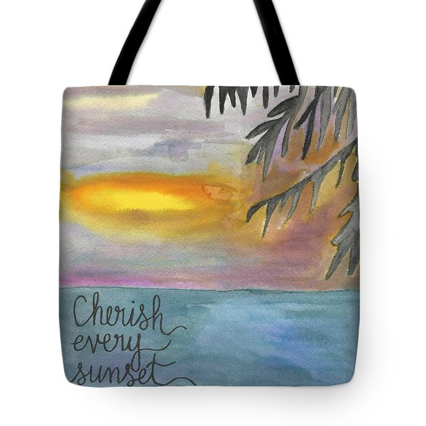Cherish Every Sunset Tote Bag