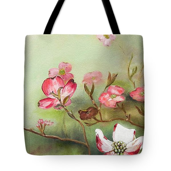 Tote Bag featuring the painting Cherokee Dogwood - Brave- Blushing by Jan Dappen