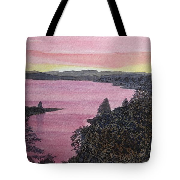 Tote Bag featuring the painting Cherokee Lake Sunset by Joel Deutsch