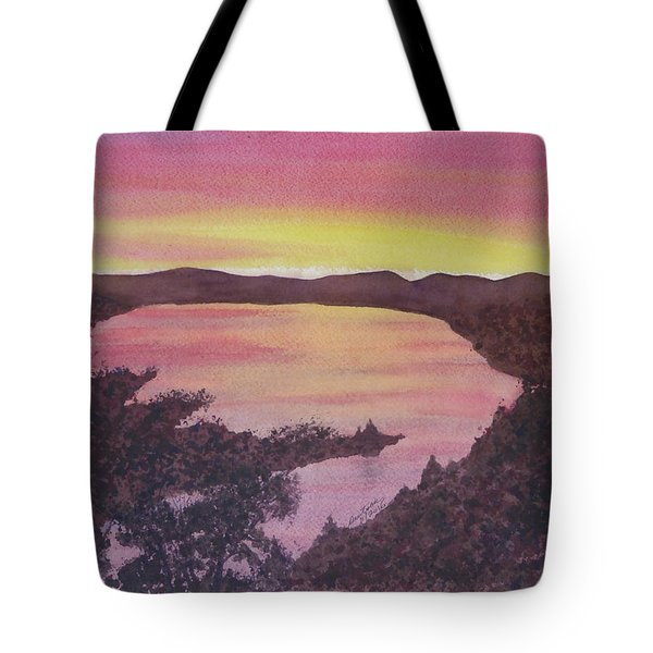 Tote Bag featuring the painting Cherokee Lake Sunset Number Seven by Joel Deutsch