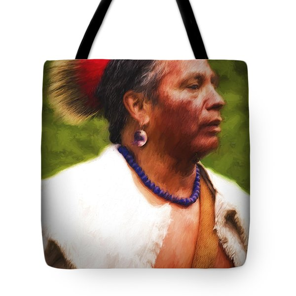 Tote Bag featuring the photograph Cherokee War Chief  ... by Chuck Caramella