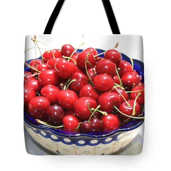 Cherries In Blue Bowl Tote Bag by Carol Groenen