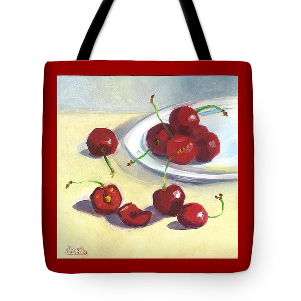 Cherries On A Plate Tote Bag