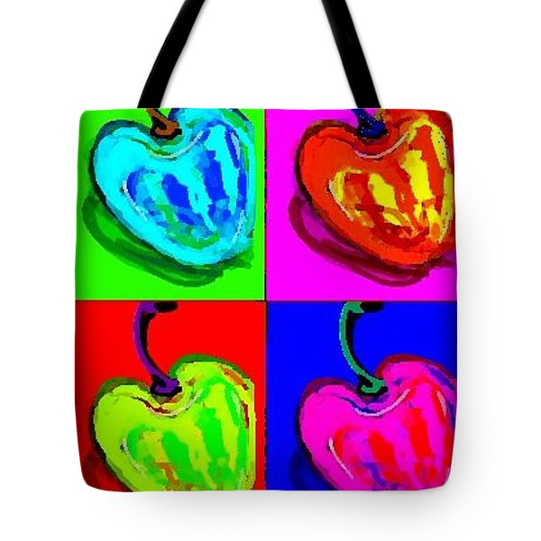 Tote Bag featuring the greeting card Cherries by Rae Chichilnitsky