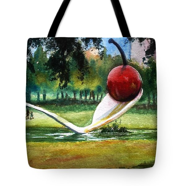 Cherry And Spoon Tote Bag by Marilyn Jacobson
