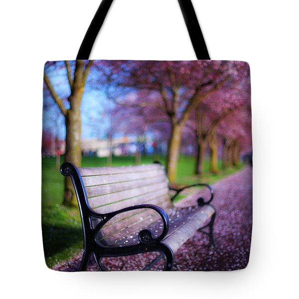 Cherry Blossom Bench Tote Bag