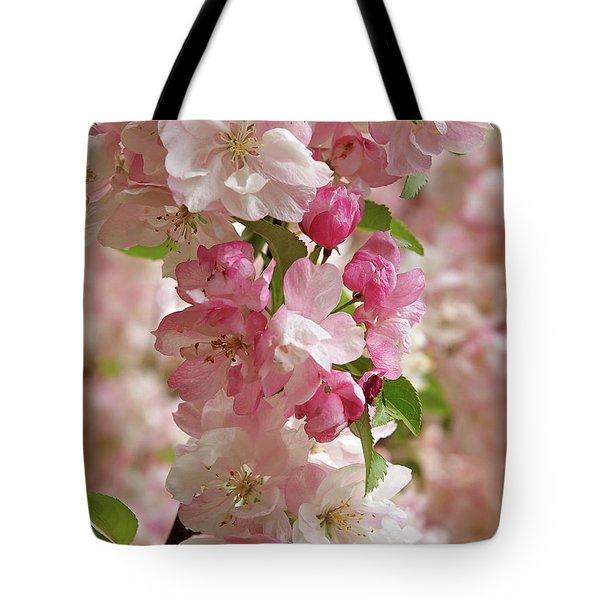 Cherry Blossom Closeup Vertical Tote Bag by Gill Billington
