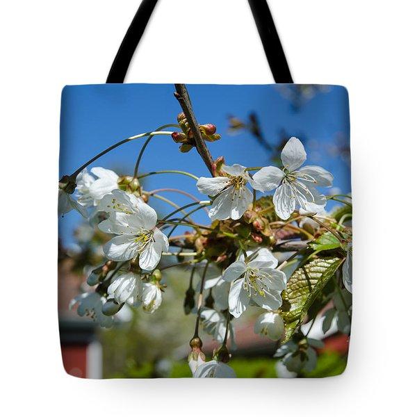 Tote Bag featuring the photograph Cherry Blossom Garden by Kennerth and Birgitta Kullman