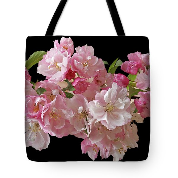 Cherry Blossom On Black Tote Bag by Gill Billington
