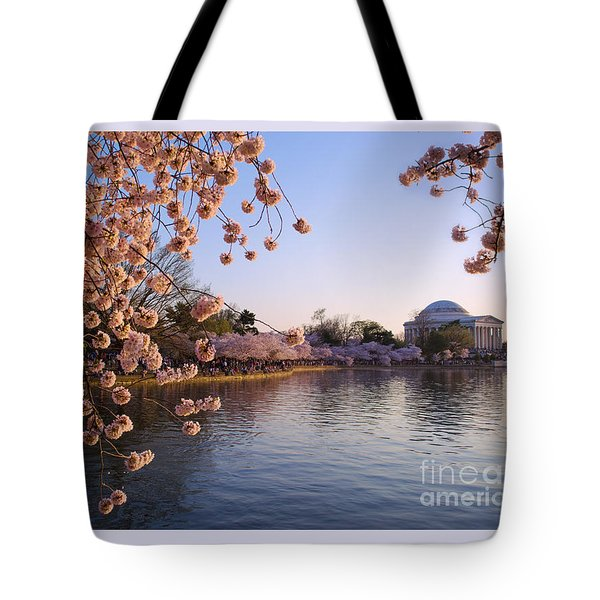 Tote Bag featuring the photograph Cherry Blossom Over Tidal Basin 2 by Rima Biswas