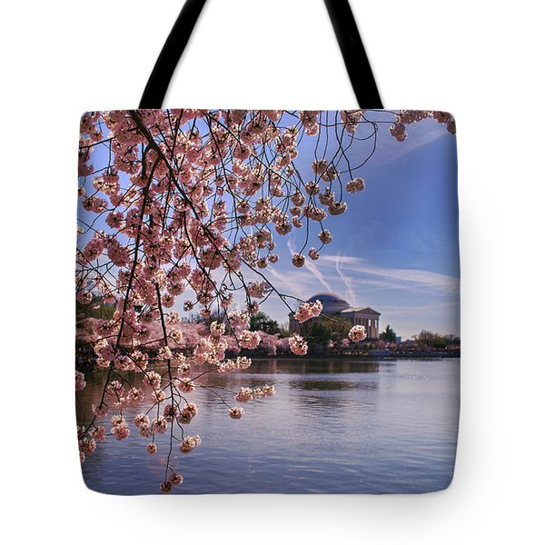 Tote Bag featuring the photograph Cherry Blossom Over Tidal Basin by Rima Biswas