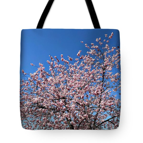 Cherry Blossom Pink And Blue Spring Colors Tote Bag
