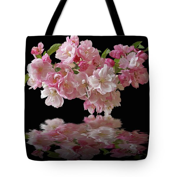 Cherry Blossom Reflections On Black Tote Bag by Gill Billington