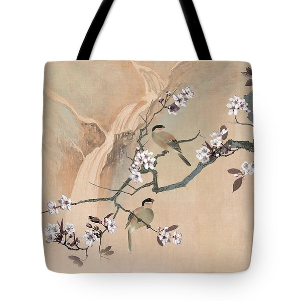 Cherry Blossom Tree And Two Birds Tote Bag