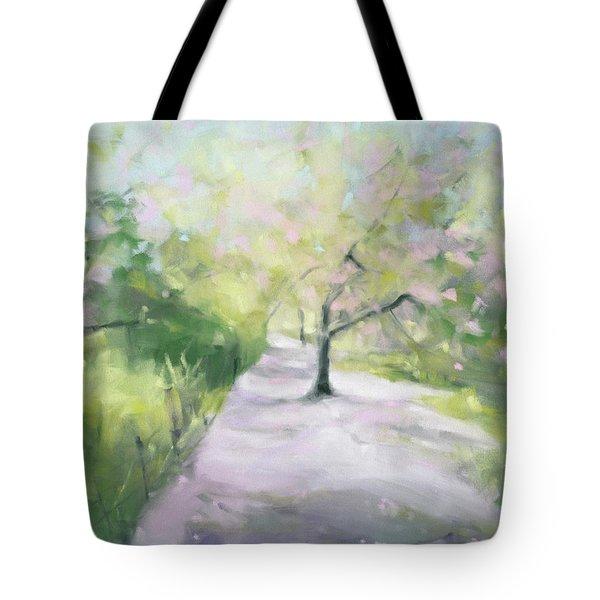 Cherry Blossom Tree Central Park Bridle Path Tote Bag