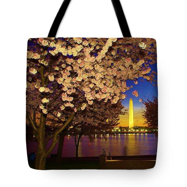 Cherry Blossom Washington Monument Tote Bag