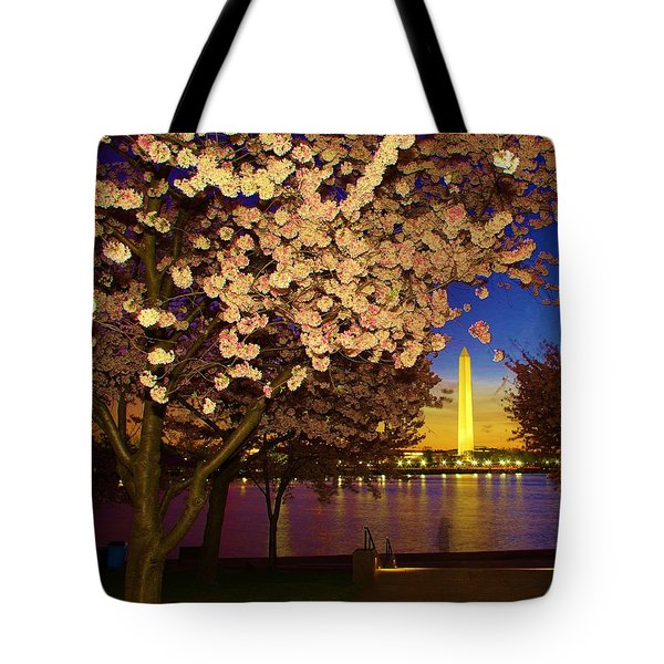 Cherry Blossom Washington Monument Tote Bag