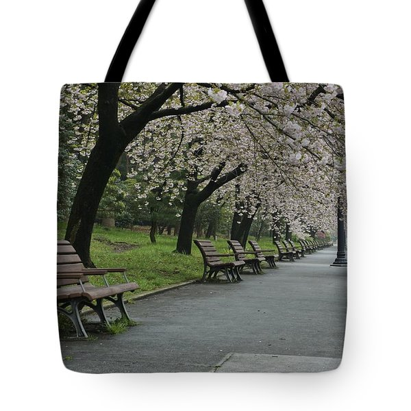 Cherry Blossoms And Benches Tote Bag